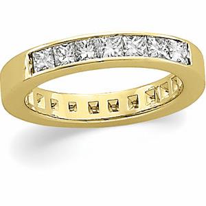 14kt Yellow Gold 3/4 ct tw 7 Stone Princess Cut Diamond Ring