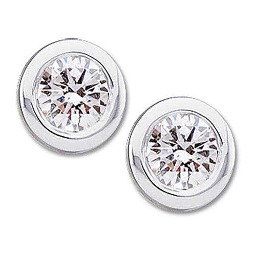 14kt White Gold 1/2 ct Diamond Stud Bezel Earrings