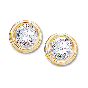 14kt Yellow Gold 1/2 ct Diamond Stud Bezel Earrings