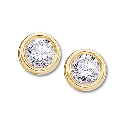 14kt Yellow Gold 1/2 ct Diamond Stud Bezel Earrings