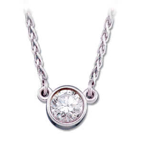14kt White Gold 1/4 ct Diamond Bezel Solitaire Necklace