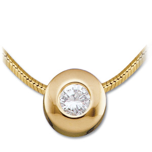 14kt Yellow Gold 1/10 ct Diamond Bezel Necklace
