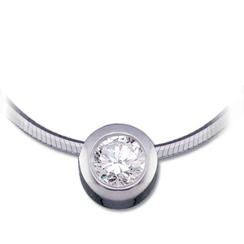 14kt White Gold 1/4 ct Diamond Bezel Pendant on 18in Snake Chain