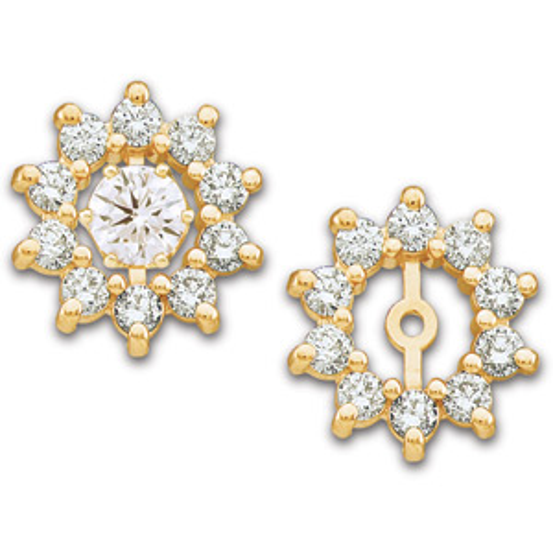 14kt Yellow Gold 3/4 CT TW Diamond Earring Jackets