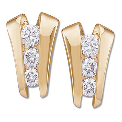 1 1/5CT TW Diamond Three Stone Ladder Earrings