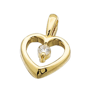 14kt Yellow Gold .07 ct Diamond Heart Pendant