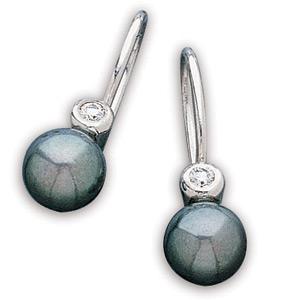 7mm Black Akoya Pearl and Diamond Earrings