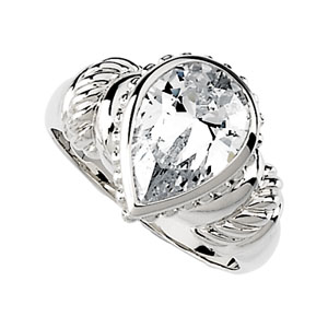 Sterling Silver 2.2 ct Pear Cubic Zirconia Ring
