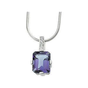 Sterling Silver 11x9mm Amethyst with Cubic Zirconia Necklace 18in