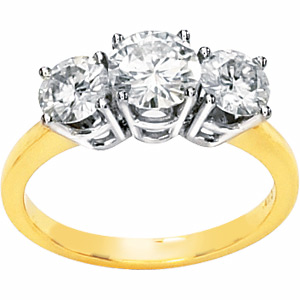 14kt Two-tone Gold 1.75 ct 3-Stone Moissanite Ring