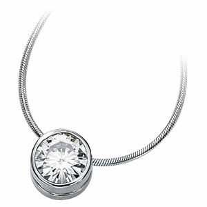 14kt White Gold 1.5 CT Moissanite Bezel Necklace