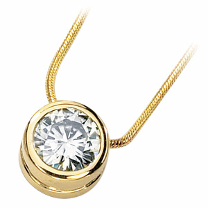 14kt Yellow Gold 1.5 CT Moissanite Bezel Necklace