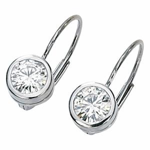 14kt White Gold 1 Ct Tw Moissanite Bezel Lever Back Earrings