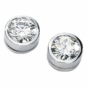 1 CT TW Moissanite Bezel Set Stud Earrings