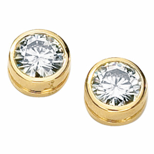 14kt Yellow Gold 1 CT TW Forever Classic Moissanite Bezel Earrings