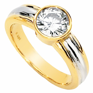 14kt Two-tone Gold 1 ct Forever Classic Moissanite Deco Ring
