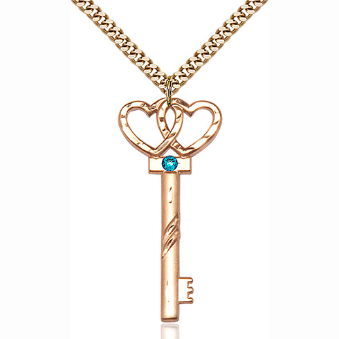 Gold Filled 1 1/2in Key Two Hearts Pendant with 3mm Zircon Bead & 24in Chain