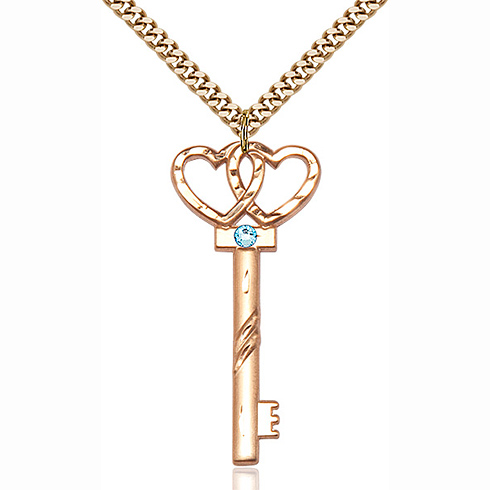 Gold Filled 1 1/2in Key Two Hearts Aqua Bead Pendant & 24in Chain