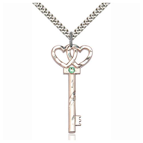 Sterling Silver 1.5in Key Two Hearts Pendant Peridot Bead & 24in Chain