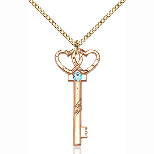 Gold Filled 1 1/4in Key Two Hearts Pendant with Aqua Bead & 18in Chain