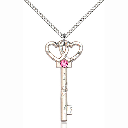 Sterling Silver 1 1/4in Key Two Hearts Pendant Rose Bead & 18in Chain