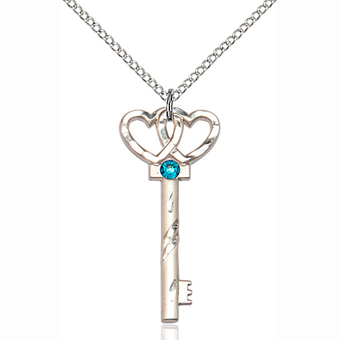 Sterling Silver 1 1/4in Key Two Hearts Pendant with 3mm Zircon Bead & 18in Chain