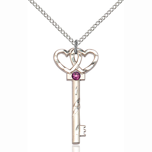 Sterling Silver 1 1/4in Key Two Hearts Pendant with 3mm Amethyst Bead & 18in Chain