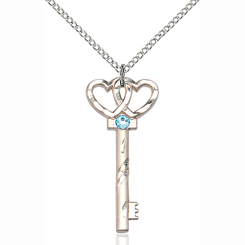 Sterling Silver 1 1/4in Key Two Hearts Pendant with 3mm Aqua Bead & 18in Chain