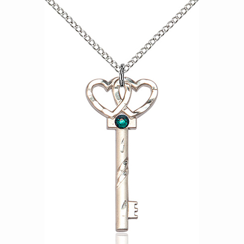 Sterling Silver 1 1/4in Key Two Hearts Pendant with 3mm Emerald Bead & 18in Chain
