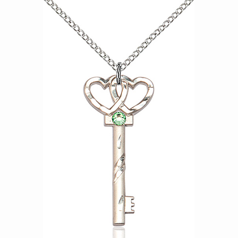 Sterling Silver 1 1/4in Key Two Hearts Pendant with 3mm Peridot Bead & 18in Chain