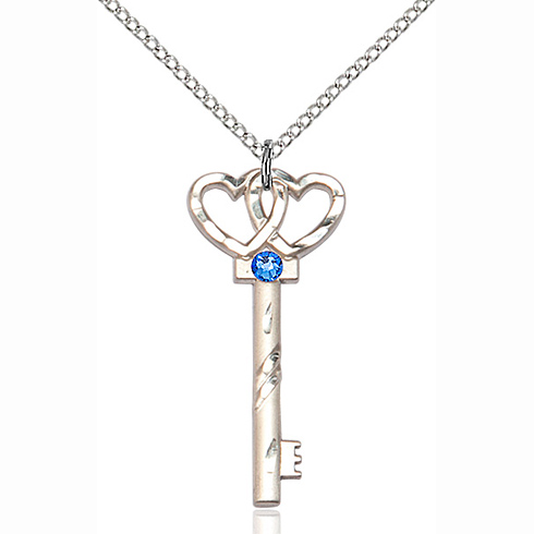 Sterling Silver 1 1/4in Key Two Hearts Pendant with 3mm Sapphire Bead & 18in Chain