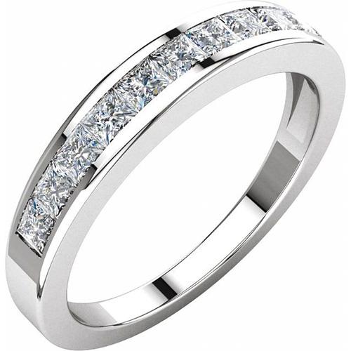 3/4 CT TW Princess Cut Diamond Platinum Wedding Band