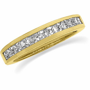 1 CT TW Diamond Princess-cut 14k Yellow Gold Anniversary Band