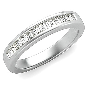 1/3 CT TW Baguette Diamond Platinum Band