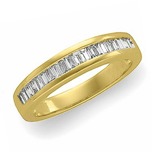 14k Yellow Gold 1/2 ct tw Diamond Baguette Wedding Band