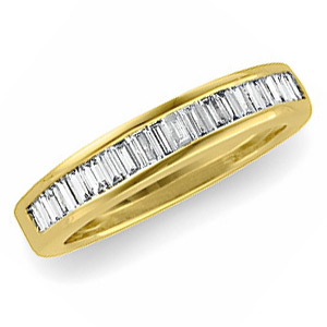 14kt Yellow Gold 3/4 CT TW Diamond Baguette Wedding Band