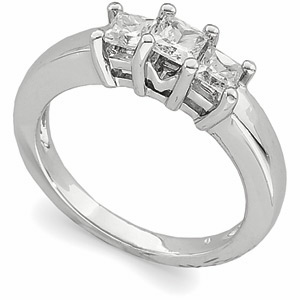 9/10 CT TW Platinum Three Stone Ring