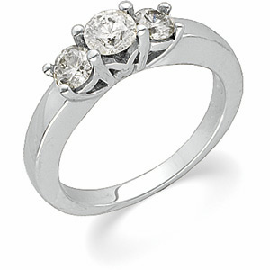 1 CT TW Platinum Three Stone Ring