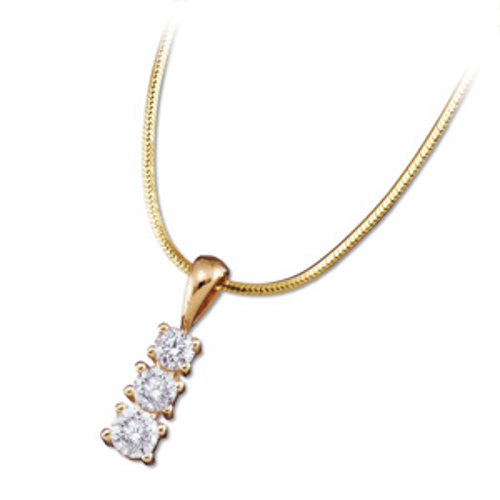 14kt Yellow Gold 3/4 ct Three Stone Diamond Pendant Slide on Chain