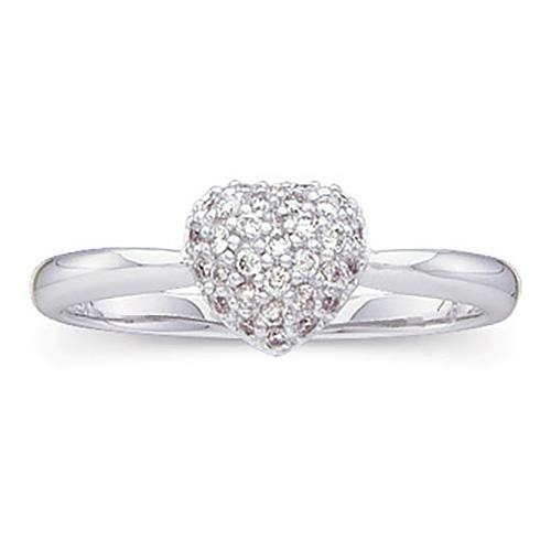 14kt White Gold 1/5 ct tw Diamond Heart Ring