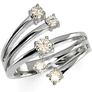 14kt White Gold 1/2 ct Forever Brilliant Moissanite Bamboo Ring