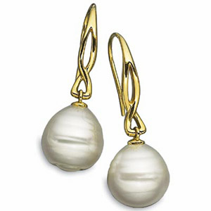 Yellow Gold South Sea Cultured Pearl Earrings