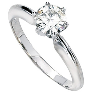 14kt White Gold 3/4 ct Moissanite Solitaire Ring