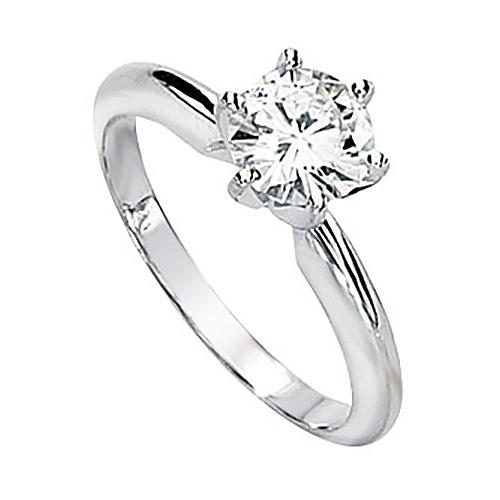 14kt White Gold 1 ct Forever Brilliant Moissanite Solitaire Ring