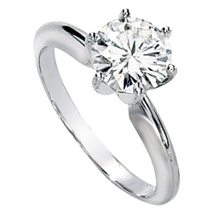 Platinum 2 ct Forever One Moissanite Solitaire Ring