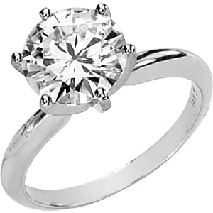 14kt White Gold 3 ct Forever One Moissanite Solitaire Ring
