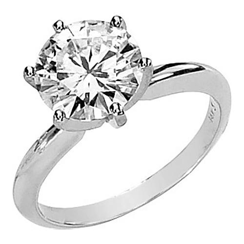 14kt White Gold 3 ct Forever Brilliant Moissanite Solitaire Ring