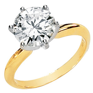 14kt Two-tone Gold 4 ct Forever Brilliant Moissanite Solitaire Ring