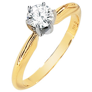 14kt Two-tone Gold 1/2 ct Moissanite Solitaire Ring