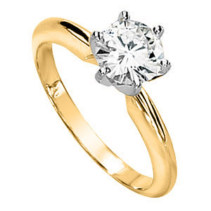 14kt Two-tone Gold 1 ct Forever Brilliant Moissanite Solitaire Ring